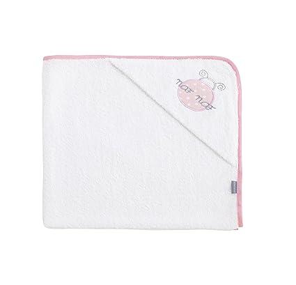 NAFNAF 100 Porcentaje de toallas de algodón de la mariquita del bebé con capucha (rosa