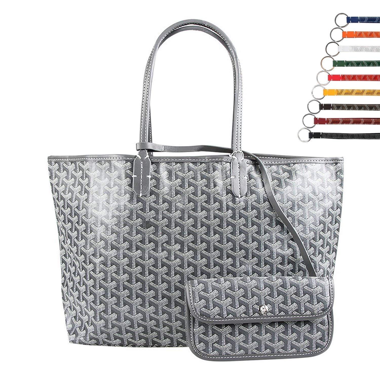 Stylesty Fashion Shopping PU Tote Bag, Designer Shoulder Handbags with Key Ring (Large, Grey) by Stylesty (Image #2)
