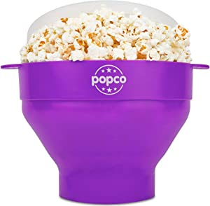 The Original Popco Silicone Microwave Popcorn Popper with Handles, Silicone Popcorn Maker, Collapsible Bowl Bpa Free and Dishwasher Safe - 10 Colors Available (Dark Orchid)