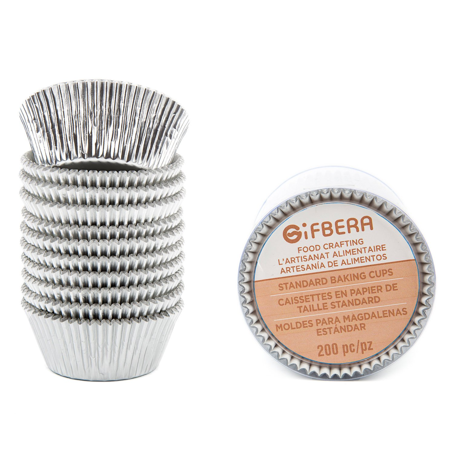 Gifbera Food Grade Silver Foil Standard Cupcake Liners Muffin Baking Cups Paper 200-Count (Silver)