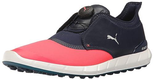 PUMA Men's Ignite Spikeless Sport Disc Golf-Shoes, Bright Plasma-Peacoat, 9 Medium US