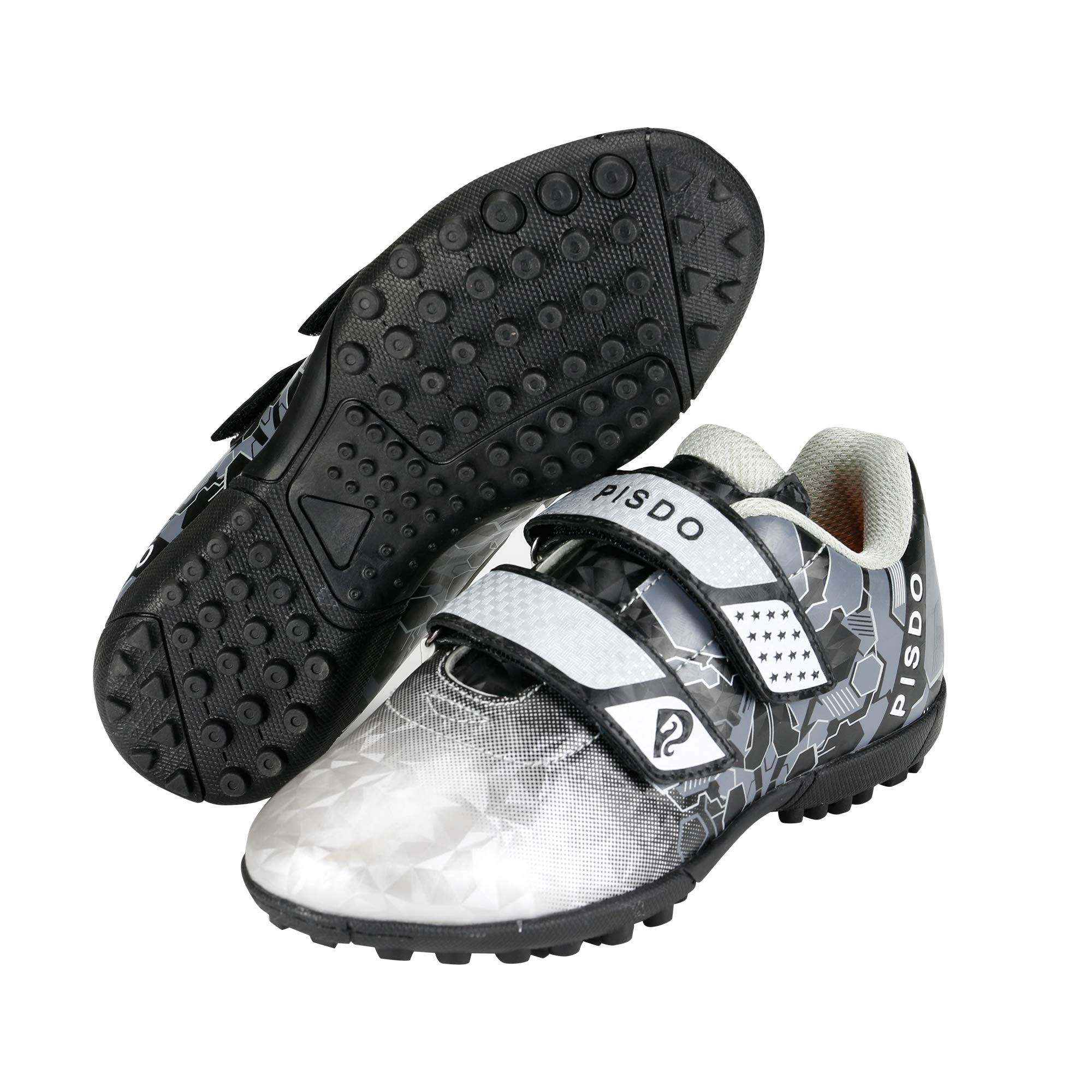 PISDO Kids Soccer Cleats Indoor/Outdoor Training Turf Soccer Shoes for Boys and Girls (Little Kids/Big Kids) Black 3