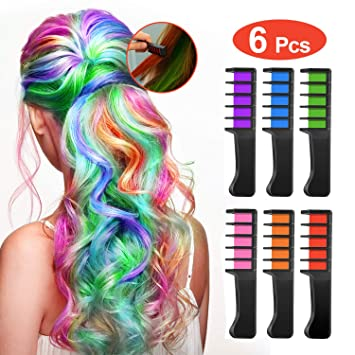 Temporary Washable Hair Color Comb - Built in Sealant Non-Toxic and Safe for Kids, Party, Cosplay and DIY (6 popular Colors)