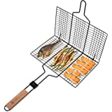 COALSTOVE Portable Non-Stick Stainless Steel BBQ Basket, Ideal for Outdoor Barbecue Parties, Fishing & Camping, Ergonomic Des