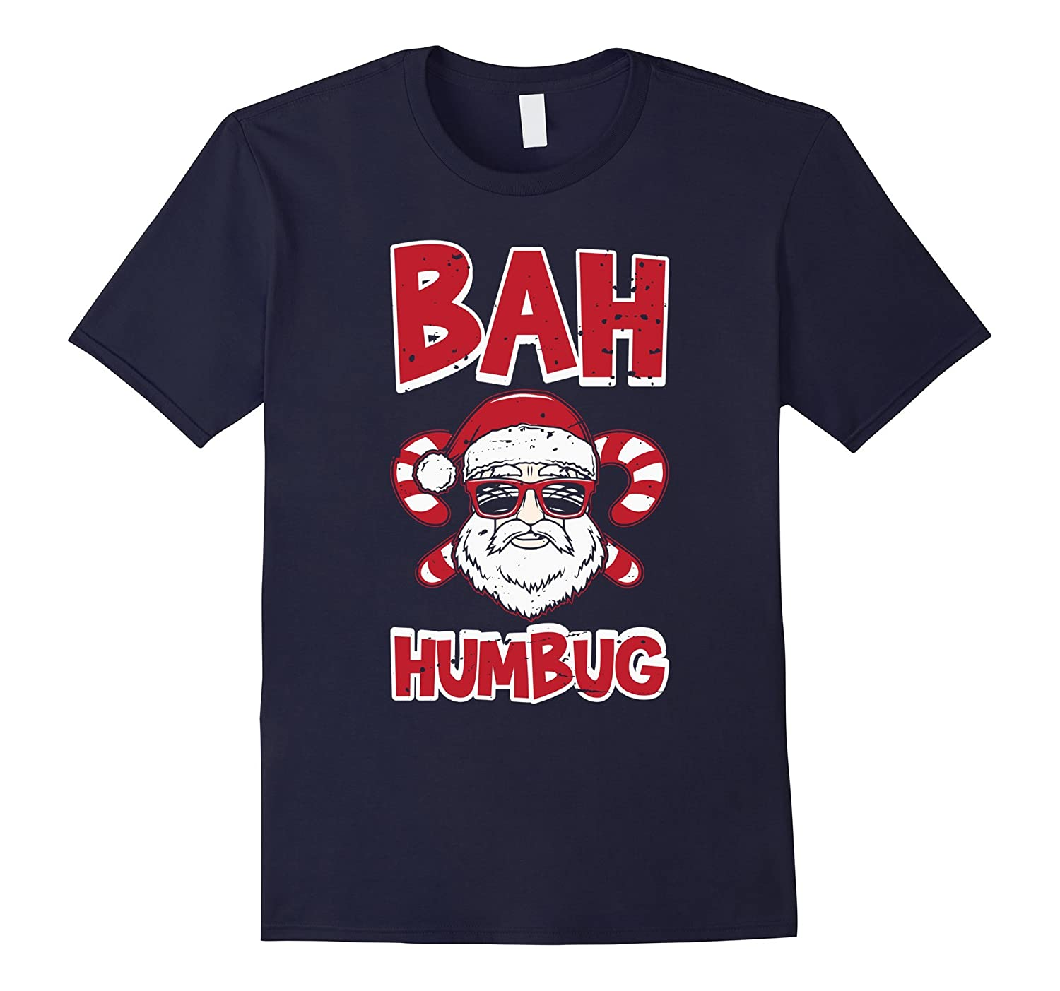 Bah Humbug Santa Candy Cane Glasses Anti Xmas Hate T-Shirt-T-Shirt