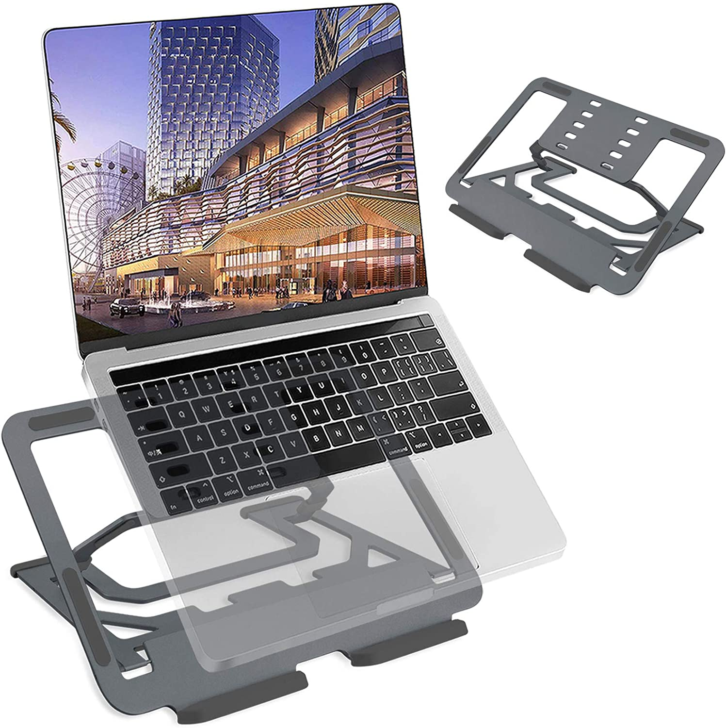 "TECOOL Laptop Stand, Multi-Angle Adjustable Aluminium Computer Riser Portable Foldable Notebook Holder Ventilated Cooling Tray for MacBook Air Pro Compatible with Most 9.7""-16"" Tablets Laptops, Grey"
