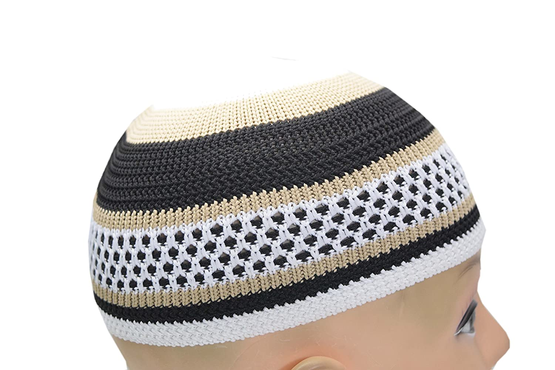 af17097b3125 Manal Enterprises New Islamic Kufi Prayer Cap Egyptian Mens Poly Cotton Muslim  Hat Topi Namaz Beanies'' at Amazon Men's Clothing store:
