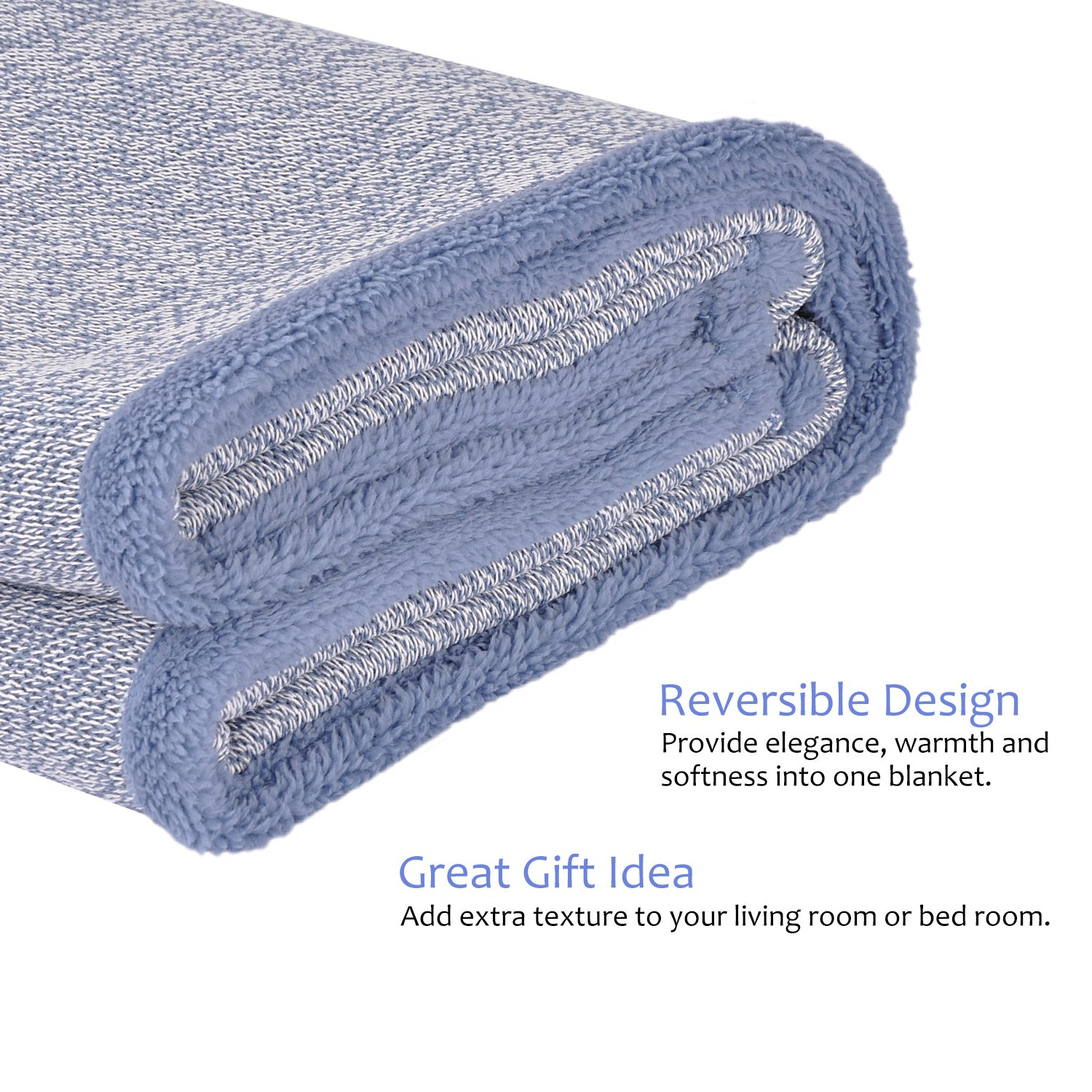 Sherpa Throw Blanket Super Soft Cozy with Plush Fleece for Coach and Bed | Size 50''x 60'' Reversible Warm Knitted Blanket for All Season Blue by Terrania (Image #5)