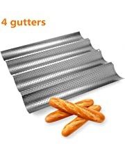 Sungpunet No-Stick French Bread Pan for Baking Baguettes Metallic Perforated Wave Loaf Bake Mold 4 Gutters