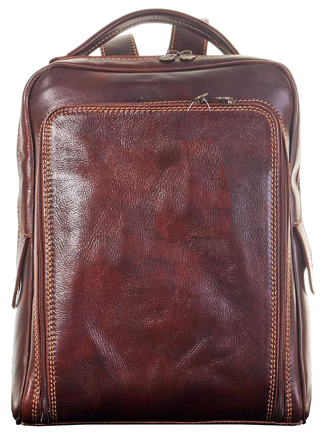 Primo Sacchi® Luxury Italian Leather Hand Made Gentlemans Classic Style Back Pack Rucksack Briefcase Shoulder Bag. Includes Branded Protective Storage Bag