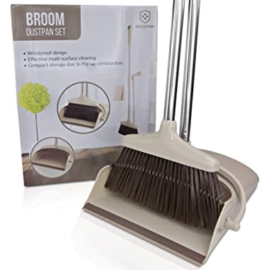 Broom and Dustpan Set [2019 Version] - Stand Up Brush and Dust Pan Combo for Upright Cleaning - Remove Hair with Built-in Wisp Scraper - Kitchen, Outdoor, Hardwood Floor & Garage Tiles Clean Supplies