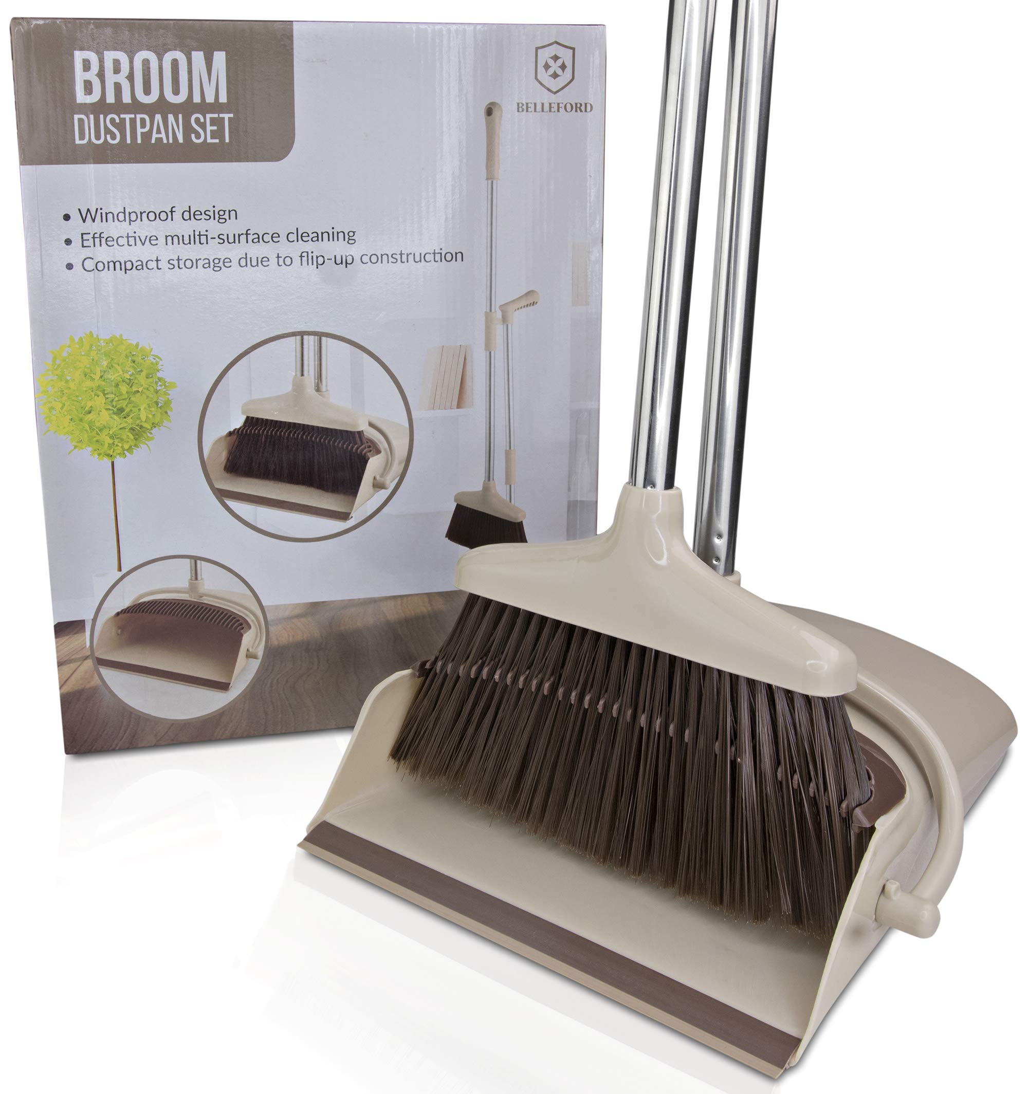 Broom and Dustpan Set [2019 Version] - Stand Up Brush and Dust Pan Combo for Upright Cleaning - Remove Hair with Built-in Wisp Scraper - Kitchen, Outdoor, Hardwood Floor & Garage Tiles Clean Supplies by Belleford (Image #9)