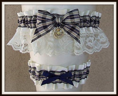 White Black Satin Wedding Keepsake Bridal Garter Racing Flag Charm