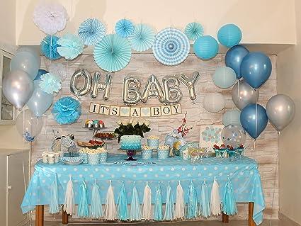 Bridal Showe Tassel Garland Boy Birthday Party Decor White Silver Black Tassel Banner and Blue Tassel Garland Baby Shower Decor
