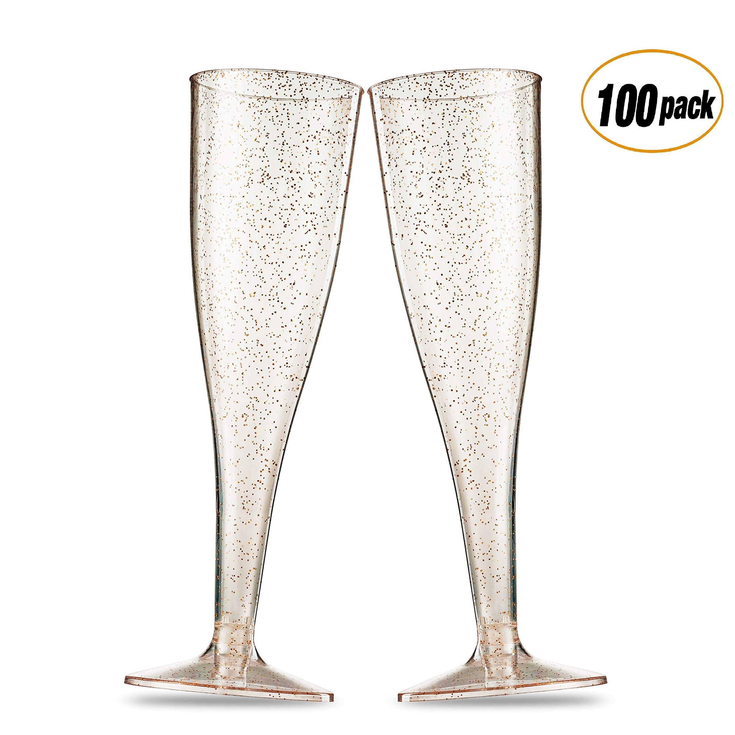 100 Pack Gold Glitter Plastic Champagne Flutes 5 Oz Clear Plastic Toasting Glasses Disposable Wedding Party Cocktail Cups by Munfix