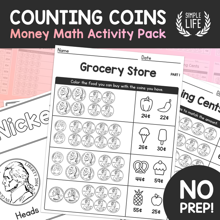 Counting Coins – Money Math NO-PREP Activity Worksheet Pack