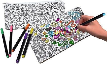 VHALE 2pcs DIY Color su propio estuche de lápices, bolsa de maquillaje cosmético bolsa de maquillaje