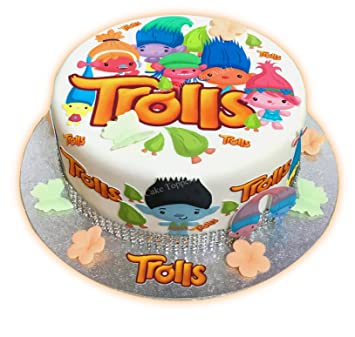 22pc TROLLS CAKE TOPPER SET EDIBLE PRECUT ICING NO CUTTING PEEL ATTACH