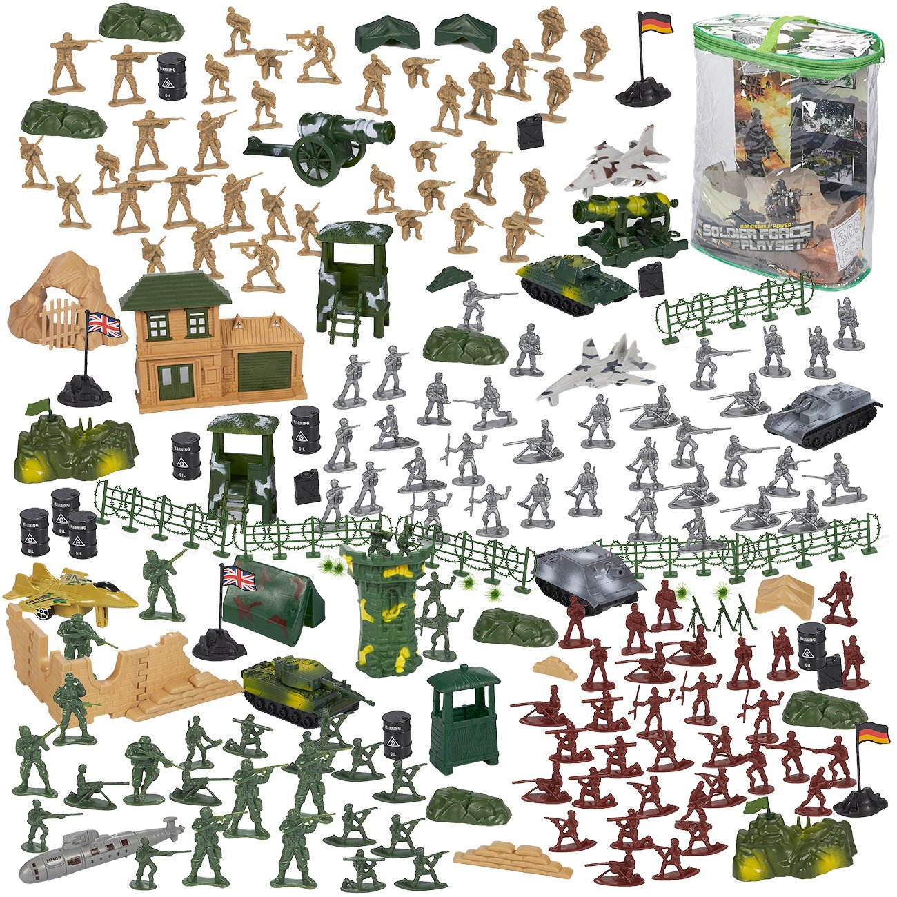 Blue Panda 300-Piece Army Action Figures Set, Military Toy Soldier Playset Tanks, Planes, Flags Battlefield Accessories Party Display