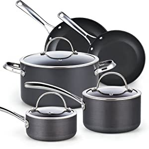 Cooks Standard 02487, Black 8-Piece Nonstick Hard Anodized Cookware Set