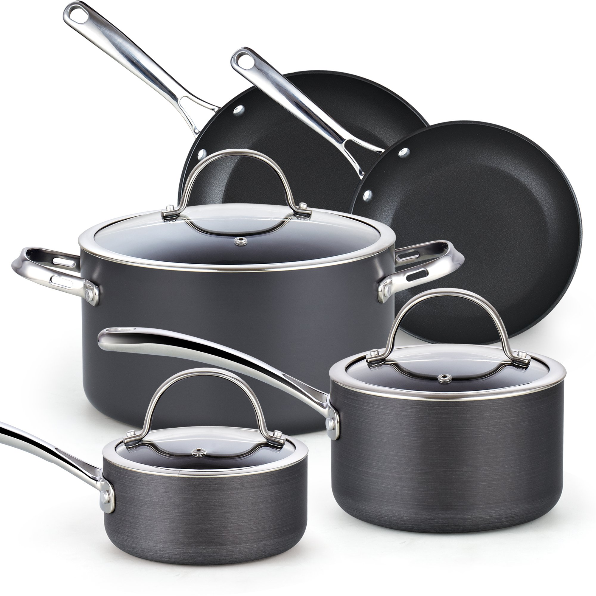Cooks Standard 8-Piece Nonstick Hard Anodized Cookware Set, Black