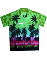 Original King Kameha | Funky Hawaiihemd | Herren | XS - 12XL | Kurzarm | Front-Tasche | Hawaii-Print | Strand Palmen Meer | Grün