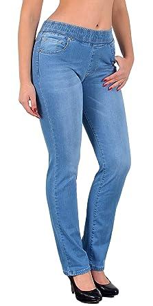 b4cb88095f22c8 ESRA Damen Jeans Hose Straight Fit Jeanshose mit Gummibund bis große Größen  Übergrösse J500