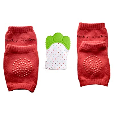 db8240e600ead Baby Teething Mitten Teething Glove (1 pc) Baby Knee Pads for Crawling (2