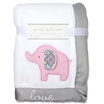 Wendy Bellissimo Super Soft Plush Baby Blanket - Elephant Baby Blanket from the Elodie Collection in