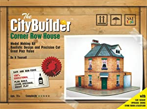 The CityBuilder Corner Row House Cardboard Model Making Kit - O Scale Model Railroad Building