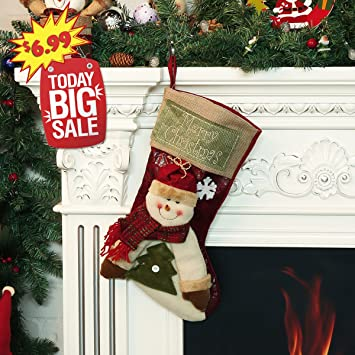 christmas giftsclassic christmas stockings 17 inch cute plush 3d applique style felt christmas stockings with