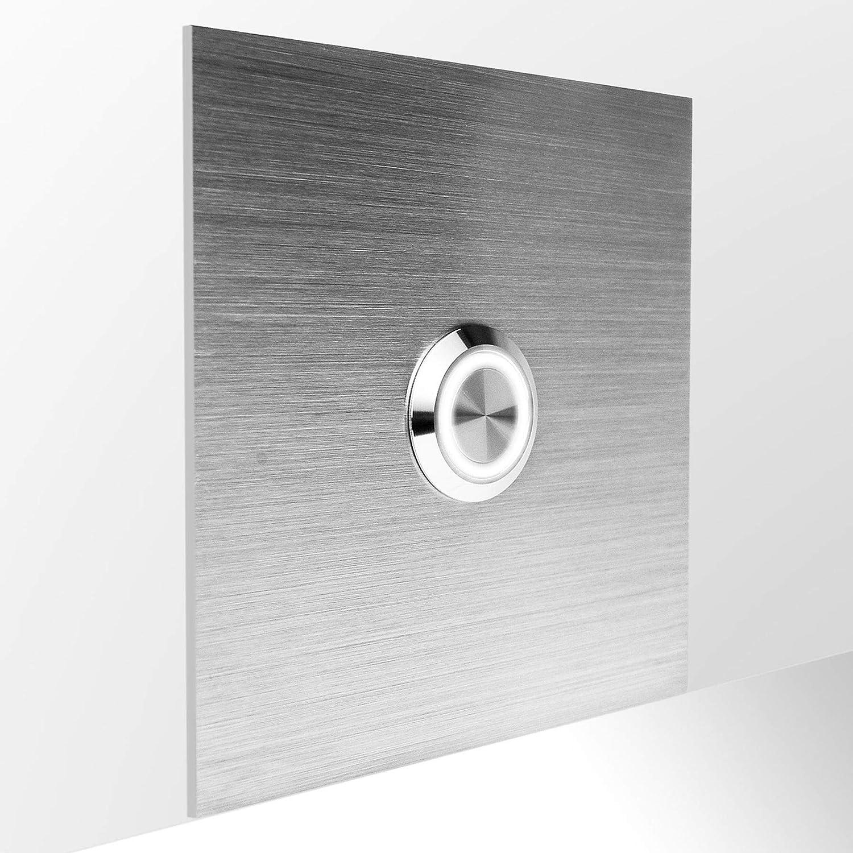 carr/ée 8,5 cm blanc bouton rond avec anneau LED MOCAVI Ring 515 Plaque de sonnette en acier inoxydable
