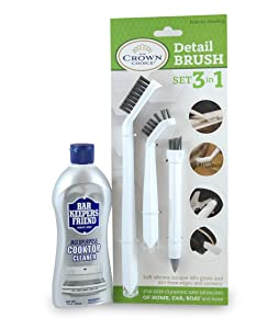 BAR KEEPERS FRIEND Cooktop Cleaner with 3-in-1 Detail Cleaning Brush Set | Deep Clean Stove top, Glass Cooktop, Bathtub, Tiles, Kitchen, Bathroom, Car, Boats