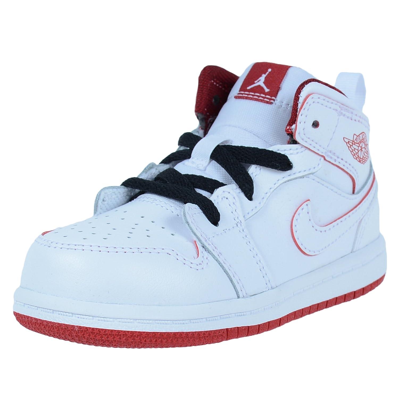 3ba27fe703ee Nike Boys Infant Toddler Jordan 1 MID BT White Gym RED Black 640735 103   Amazon.co.uk  Shoes   Bags