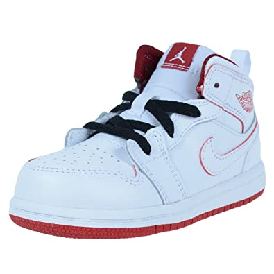 NIKE BOYS INFANT TODDLER JORDAN 1 MID BT WHITE GYM RED BLACK 640735 103 38aa9146f848