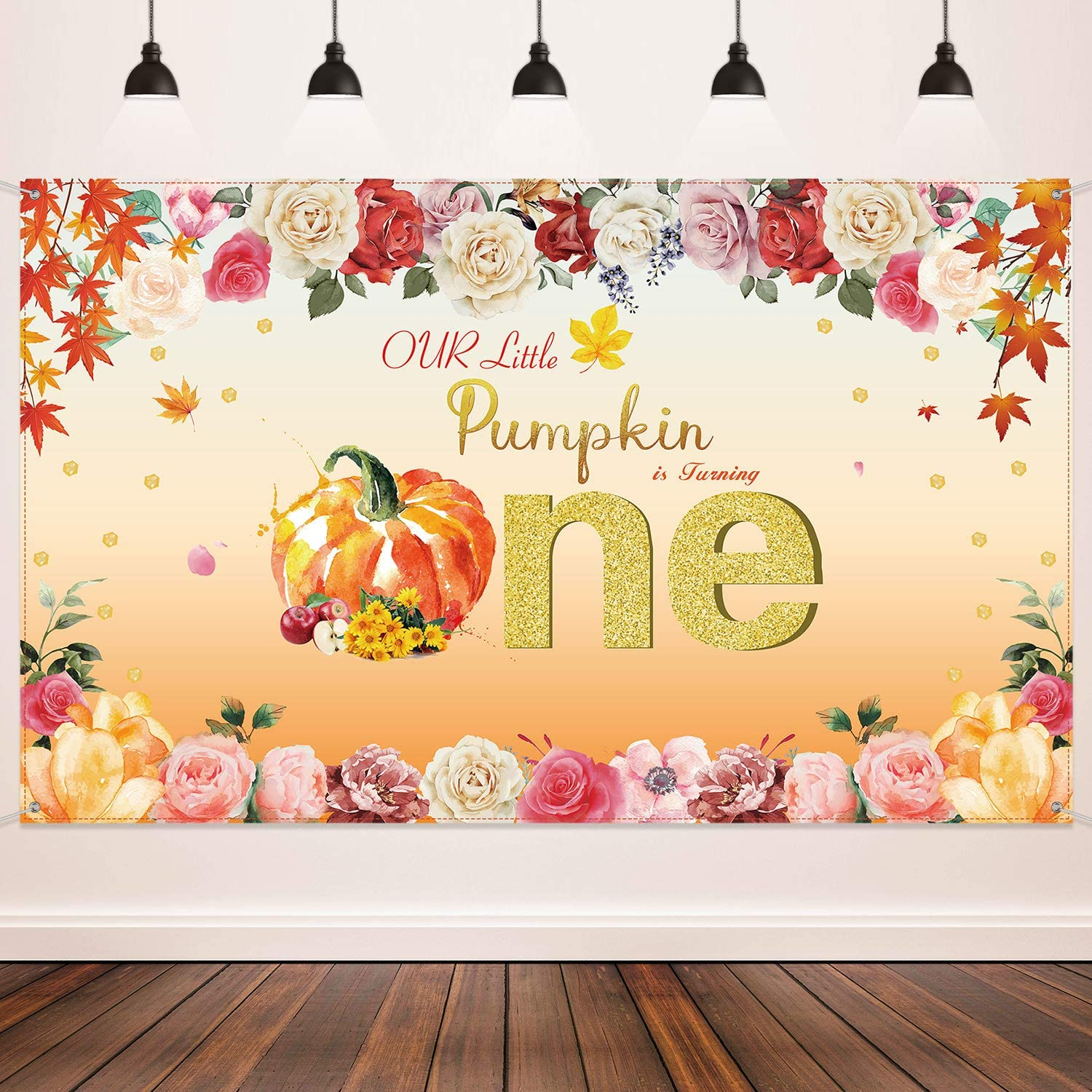 Pumpkin Birthday Party Decoration, Autumn Glitter Dot Flower Banner for Baby Shower Supplies, Little Pumpkin is Turning One Backdrop Floral Princess Baby Girl 1st Birthday Party Photography Background