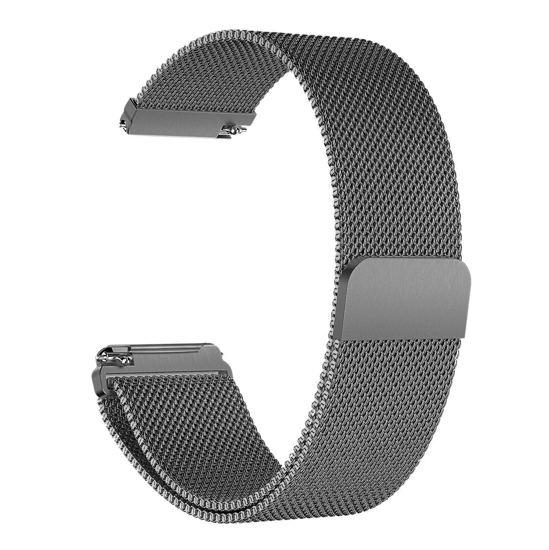 frlerバンドfor Fitbit Versa Smartwatch, Milanese Loopステンレススチールメタル交換用ブレスレットストラップwith UniqueマグネットロックアクセサリーWristbands for Fitbit Versa Fitness Smart Watch B07CQCLK3X スペースグレー (Space Gray) Large