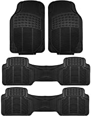 FH Group F11306BLACK-3ROW Floor Mat (Trimmable Heavy Duty 3 Row SUV All Weather 4pc Full Set - Black)