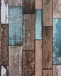 """EUROTEX Wood Wallpaper Self-Adhesive Removable Peel and Stick Decorative Wall Covering Vintage Panel Interior Film (PVC, Size 17.7"""" x 393"""", 48 Sq ft Roll, Multi Color)"""