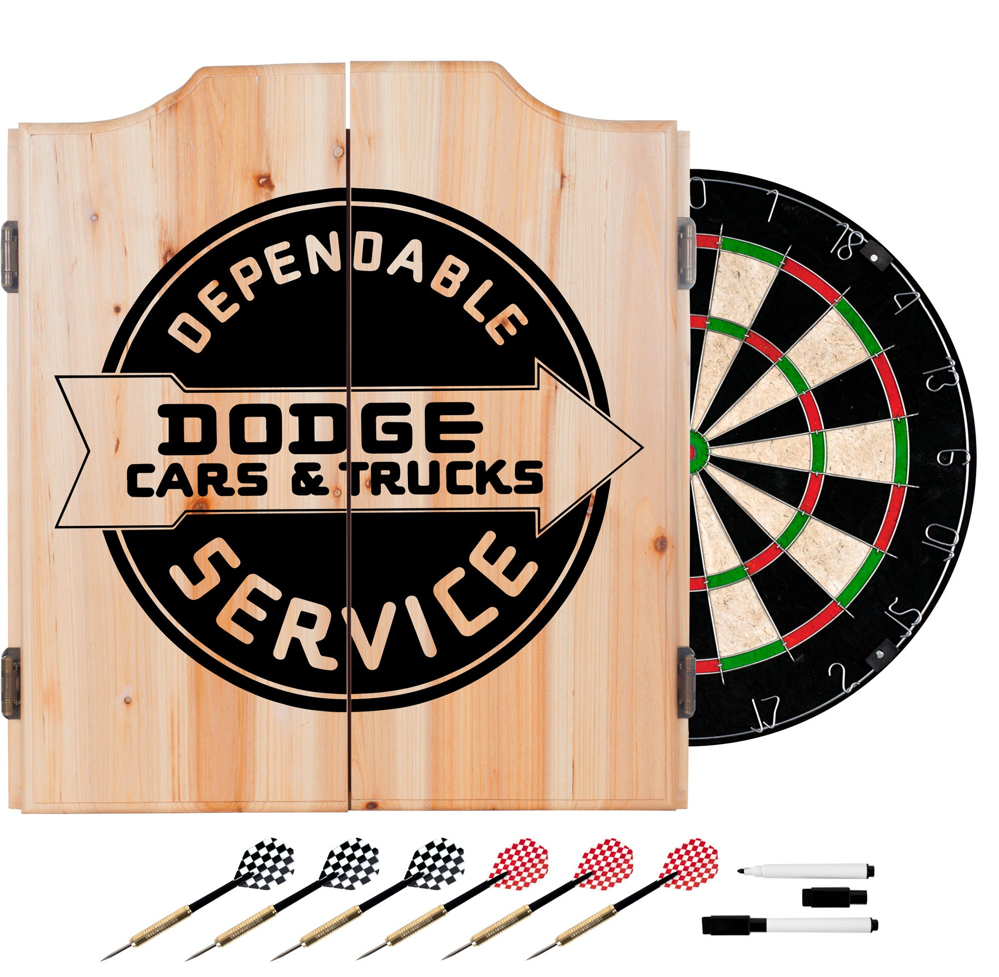 Trademark Gameroom Dodge Service Dart Cabinet Set with Darts & Board