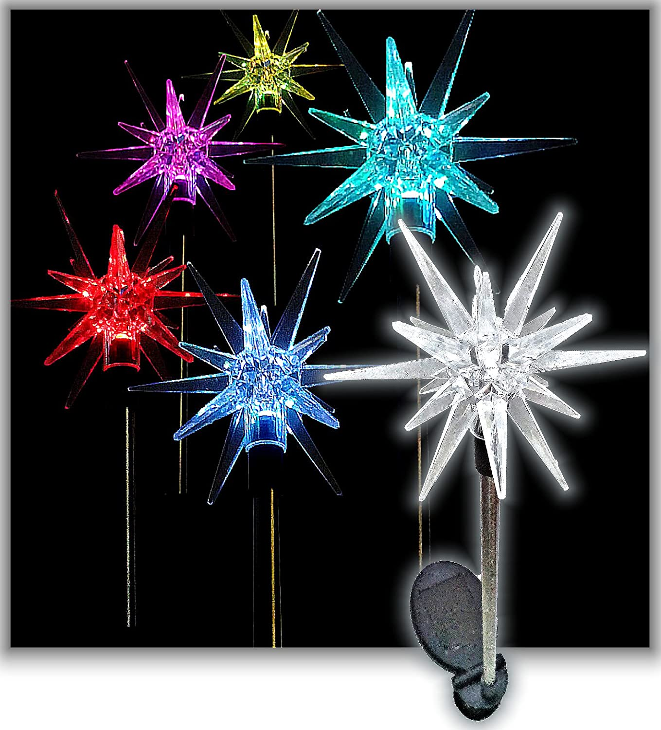 amazoncom sparkling solar star lights garden stake set of 4 garden outdoor - Christmas Stake Lights
