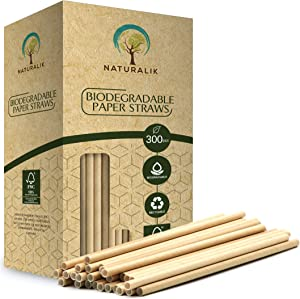 """Naturalik 300/1000-Pack Biodegradable Paper Straws Dye-Free- Premium Eco-Friendly Paper Straws Bulk- Drinking Straws for Juices, Smoothies, Restaurants and Party Decorations, 7.7"""" (Brown, 300ct)"""