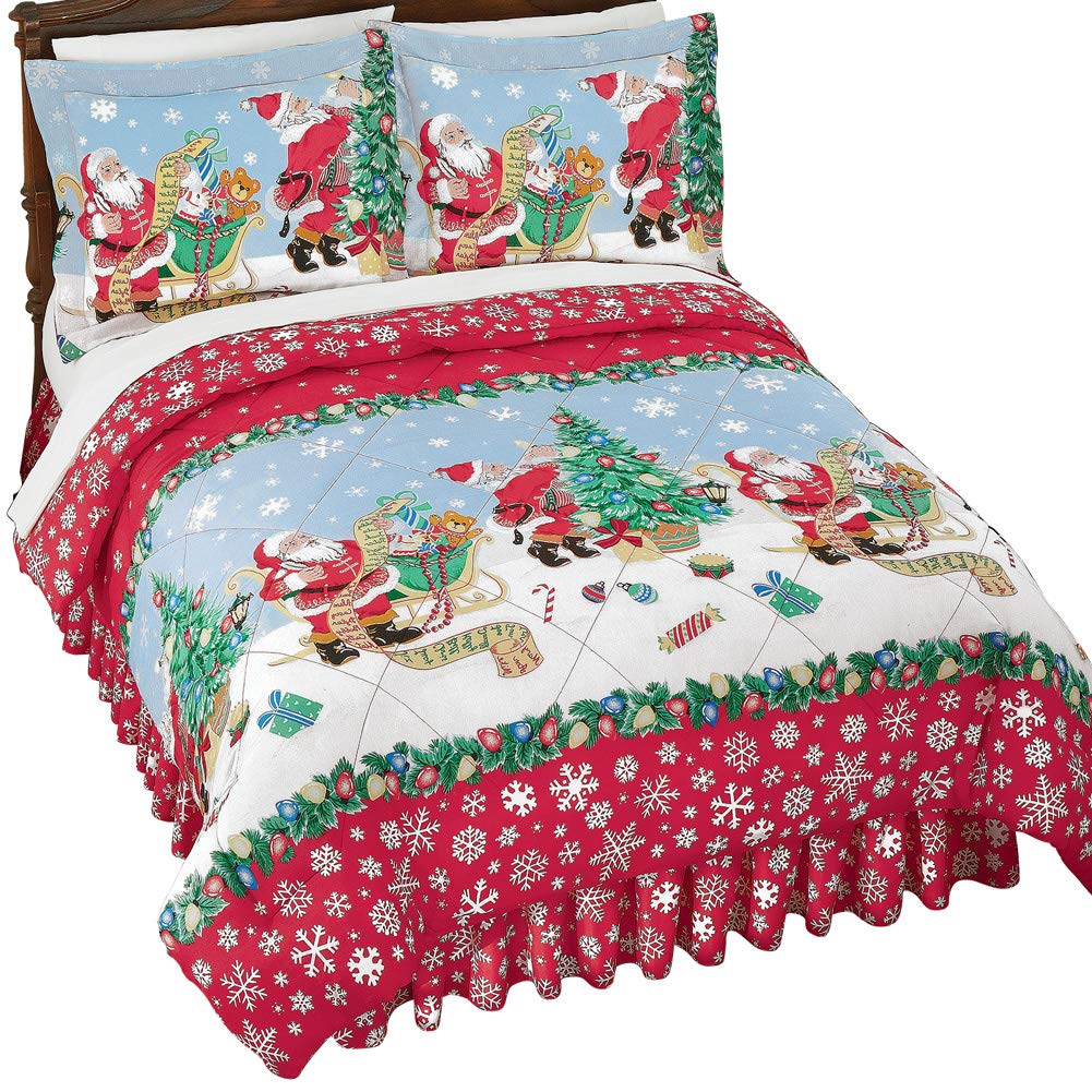 Santa Christmas Comforter Set w/Shams, Twin Collections Etc