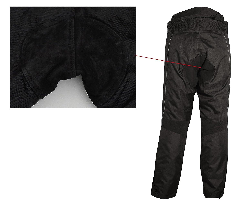 Rindslederapplikationen Reflektoren Schwarze Motorradhose mit herausnehmbarem Thermofutter Protektoren und Weitenverstellung f/ür Sommer und Winter