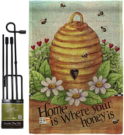 Bugs Frogs Bee Hive Home Burlap Garden Flag Set With Stand Friends Small Decorative Gift Yard House Banner Double Sided Made In Usa 13 X 18 5 Garden Outdoor