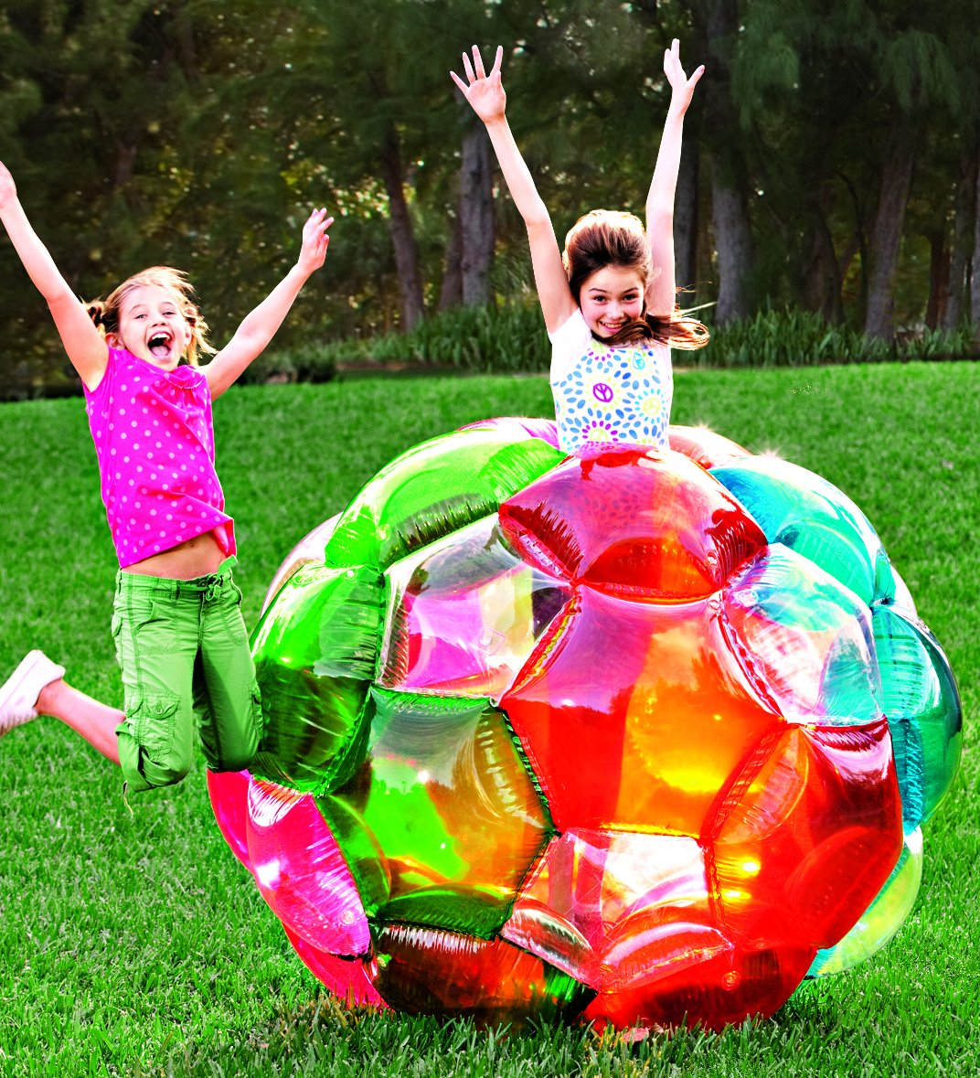 Light Up Multi Color Kaleidoscopic GBOP Great Big Outdoor Play Ball Confetti Filled Motion Activated LEDs Inflatable Durable PVC 65'' Diam