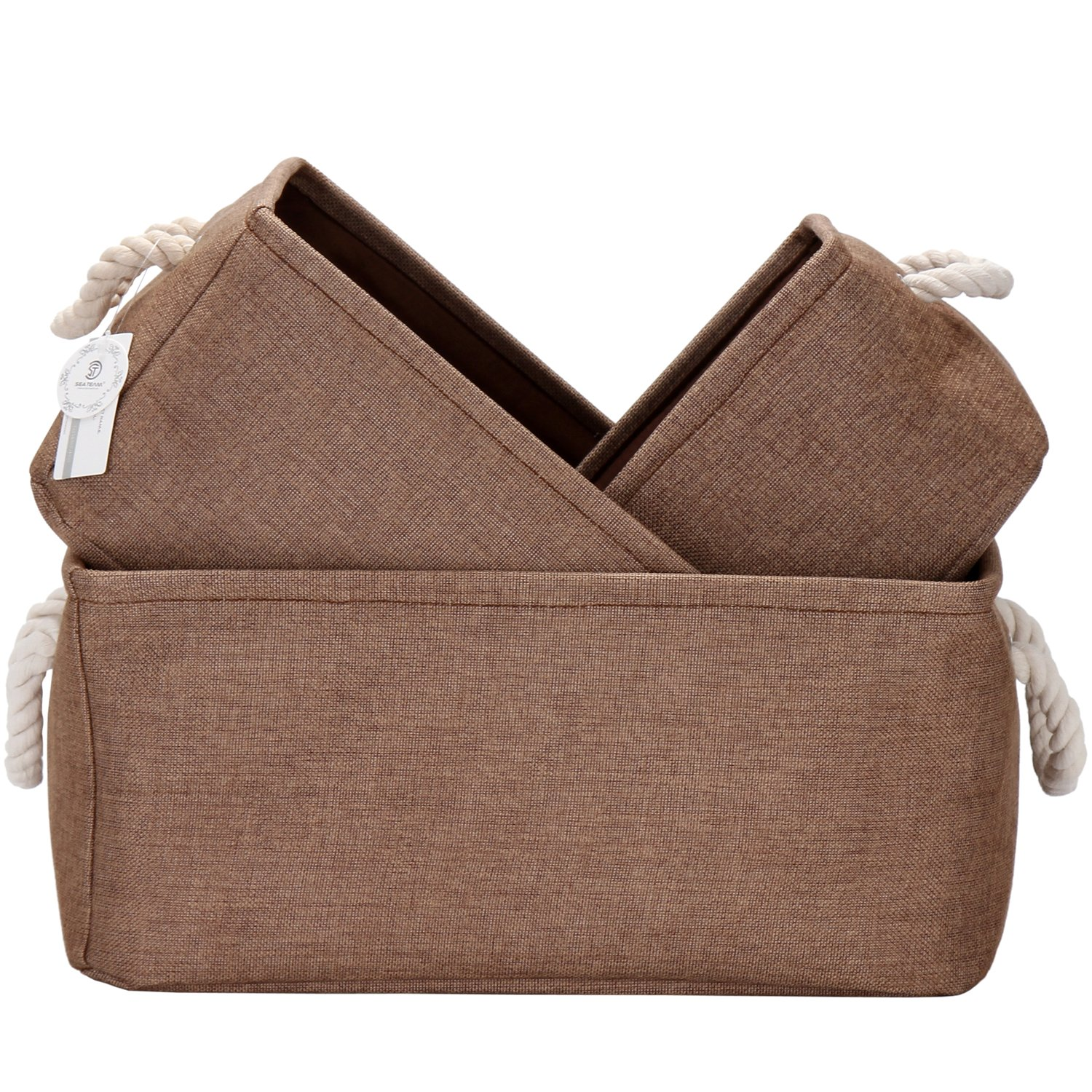 Sea Team Foldable Multi-sized Square New Brown 100% Natural Linen & Cotton Fabric Storage Bins Storage Baskets Organizers - Set of 3 (Beige) ST-SB0002A