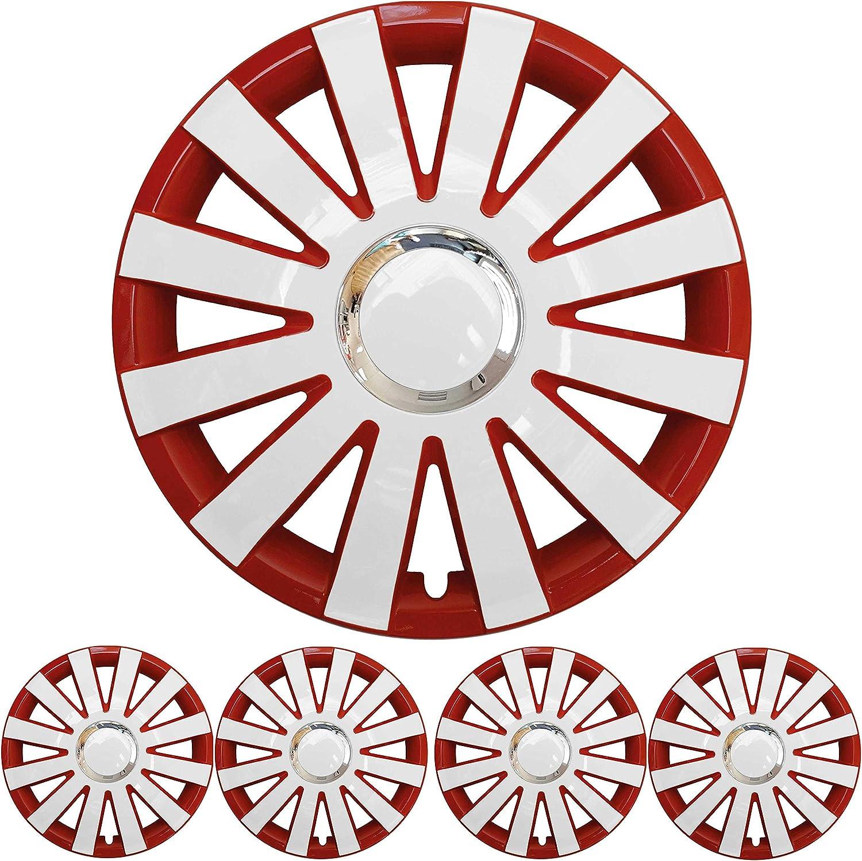 4x Premium Design Radkappen Radzierblenden Set Onyx 15 Zoll In Rot Weiß Auto