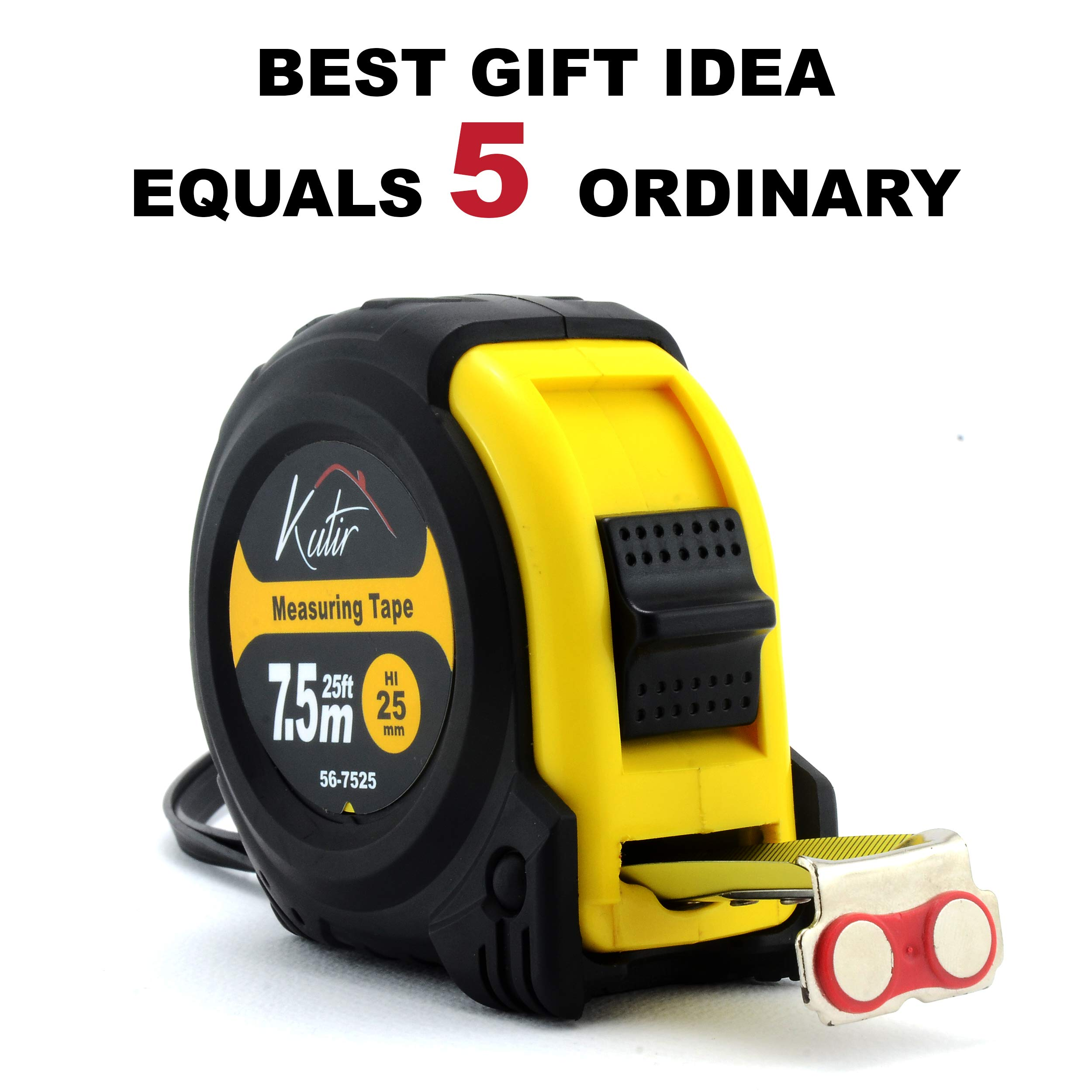 Measuring Tape Measure By Kutir - EASY TO READ 25 Foot BOTH SIDE DUAL RULER, Retractable, STURDY, Heavy Duty, MAGNETIC HOOK, Metric, Inches and Imperial Measurement, SHOCK ABSORBENT Solid Rubber Case by Kutir (Image #7)