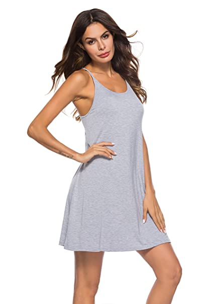 Image Unavailable. Image not available for. Color  Poseca Women Nightgowns  Spaghetti Strap Sexy Nighties Sleeveless Full Sleep ... 7e6653f1e